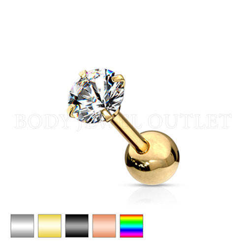 Ear Cartilage CZ Piercing Gold Steel Stud | BodyJewelOutlet