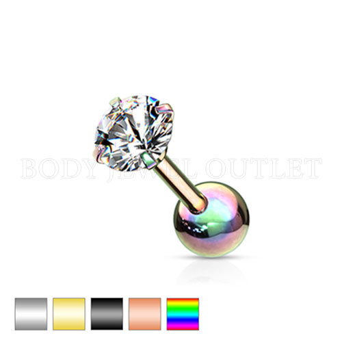 Ear Cartilage CZ Piercing Rainbow Steel Stud | BodyJewelOutlet