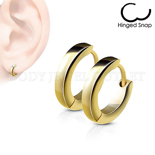 Plain Gold IP Thin 2.5mm Wide - 316L Stainless Steel Hoop/Huggie Earrings - Pair (2 Pieces)
