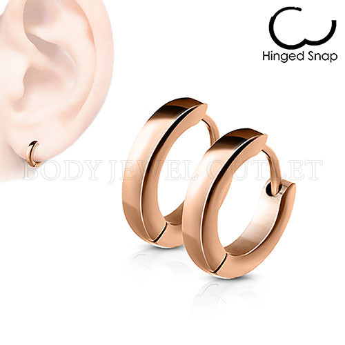 Plain Rose Gold IP Thin 2.5mm Wide - 316L Stainless Steel Hoop/Huggie Earrings - Pair (2 Pieces)