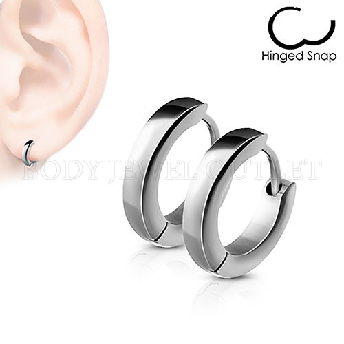 Plain Steel Thin 2.5mm Wide - 316L Stainless Steel Hoop/Huggie Earrings - Pair (2 Pieces)