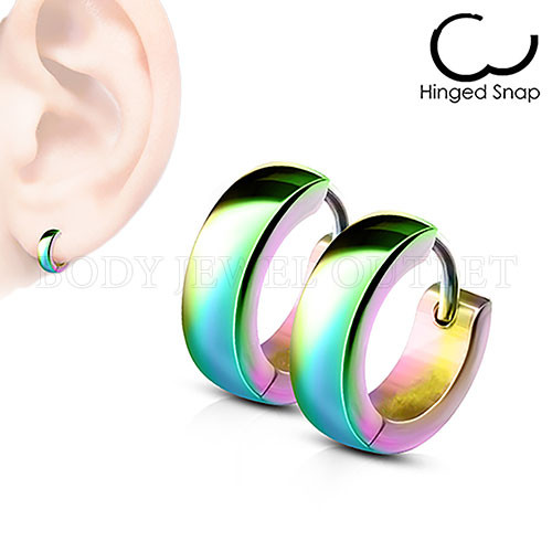 Plain Rainbow IP 4mm Wide - 316L Stainless Steel Hoop/Huggie Earrings - Pair (2 Pieces)
