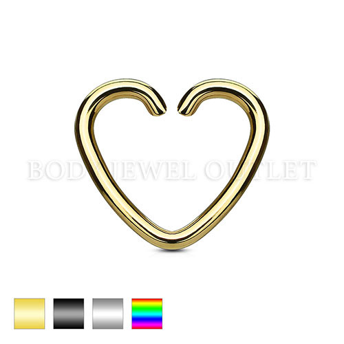 Ear Cartilage piercing Gold IP Heart Ring Steel | BodyJewelOutlet