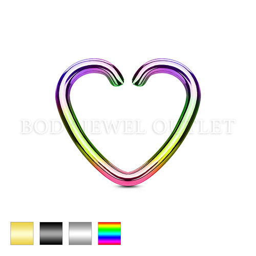 Ear Cartilage piercing Rainbow IP Heart Ring Steel | BodyJewelOutlet