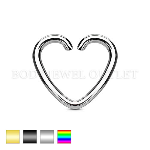 Ear Cartilage piercing Heart Ring Surgicall Steel | BodyJewelOutlet
