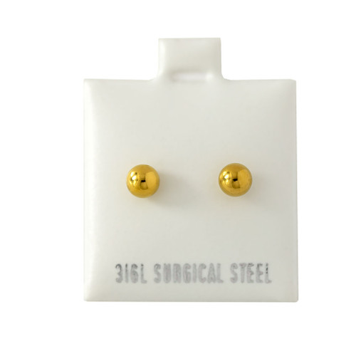 4MM Gold IP Ball Stud - 316L Stainless Steel Earring - Pair (2 Pieces)