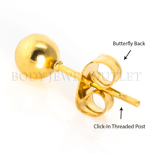 5MM Gold IP Ball Stud - 316L Stainless Steel Earring - Pair (2 Pieces)