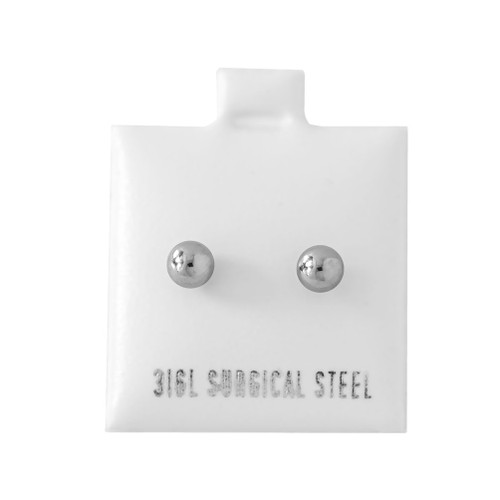 4MM Steel Ball Stud - 316L Stainless Steel Earring - Pair (2 Pieces)
