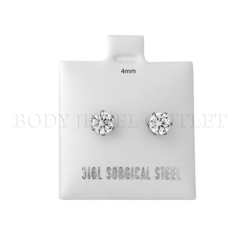 4mm Clear Round CZ  Stud - 316L Stainless Steel Earring - Pair (2 Pieces) 4mm Stud Earrings with Clear Round CZ - Steel | BodyJewelOutlet