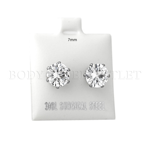 7mm Clear Round CZ  Stud - 316L Stainless Steel Earring - Pair (2 Pieces) 7mm Stud Earrings with Clear Round CZ - Steel | BodyJewelOutlet