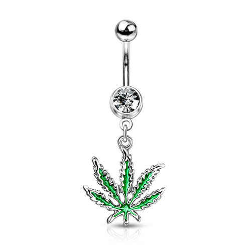 Dangle Belly Piercing Green Pot Leaf | BodyJewelOutlet Marijuana