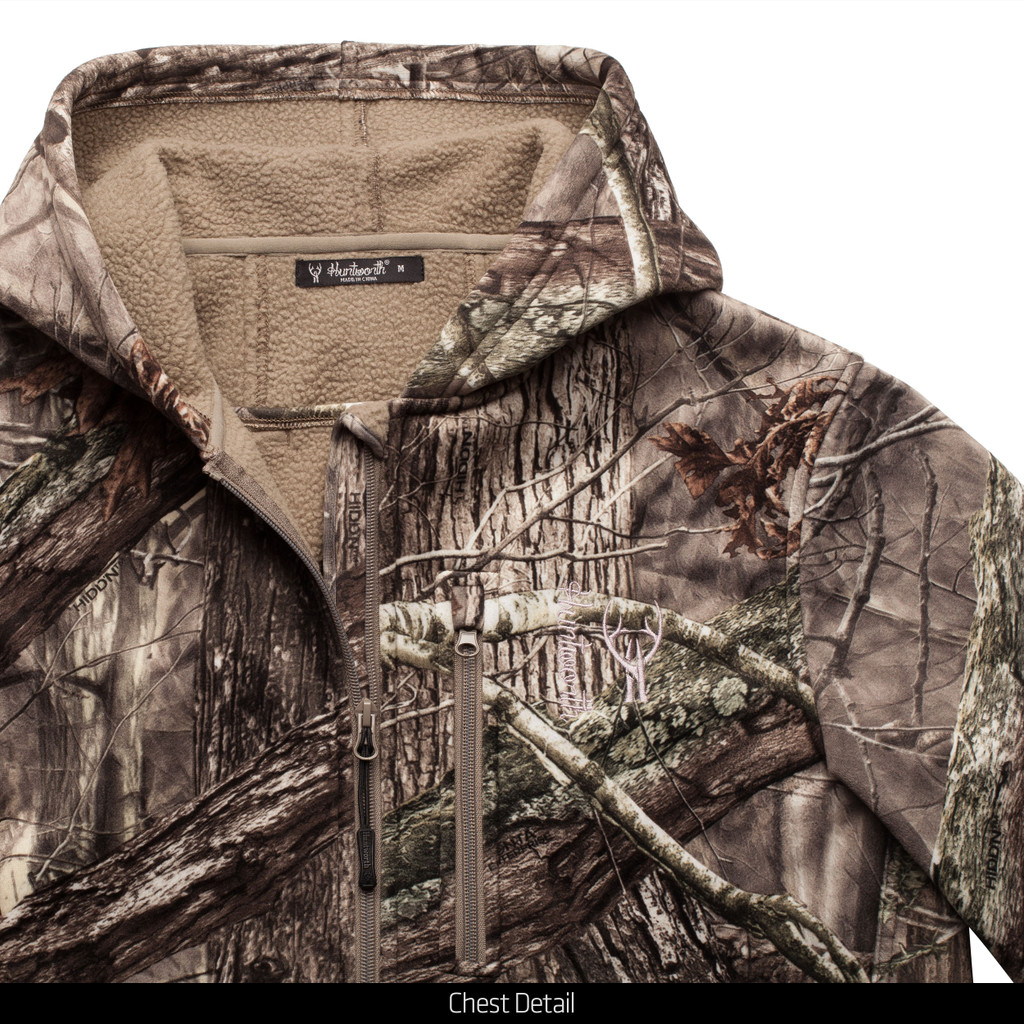 Heavy Weight Berber Bonded Camo Hunting Jacket - Chest detail.