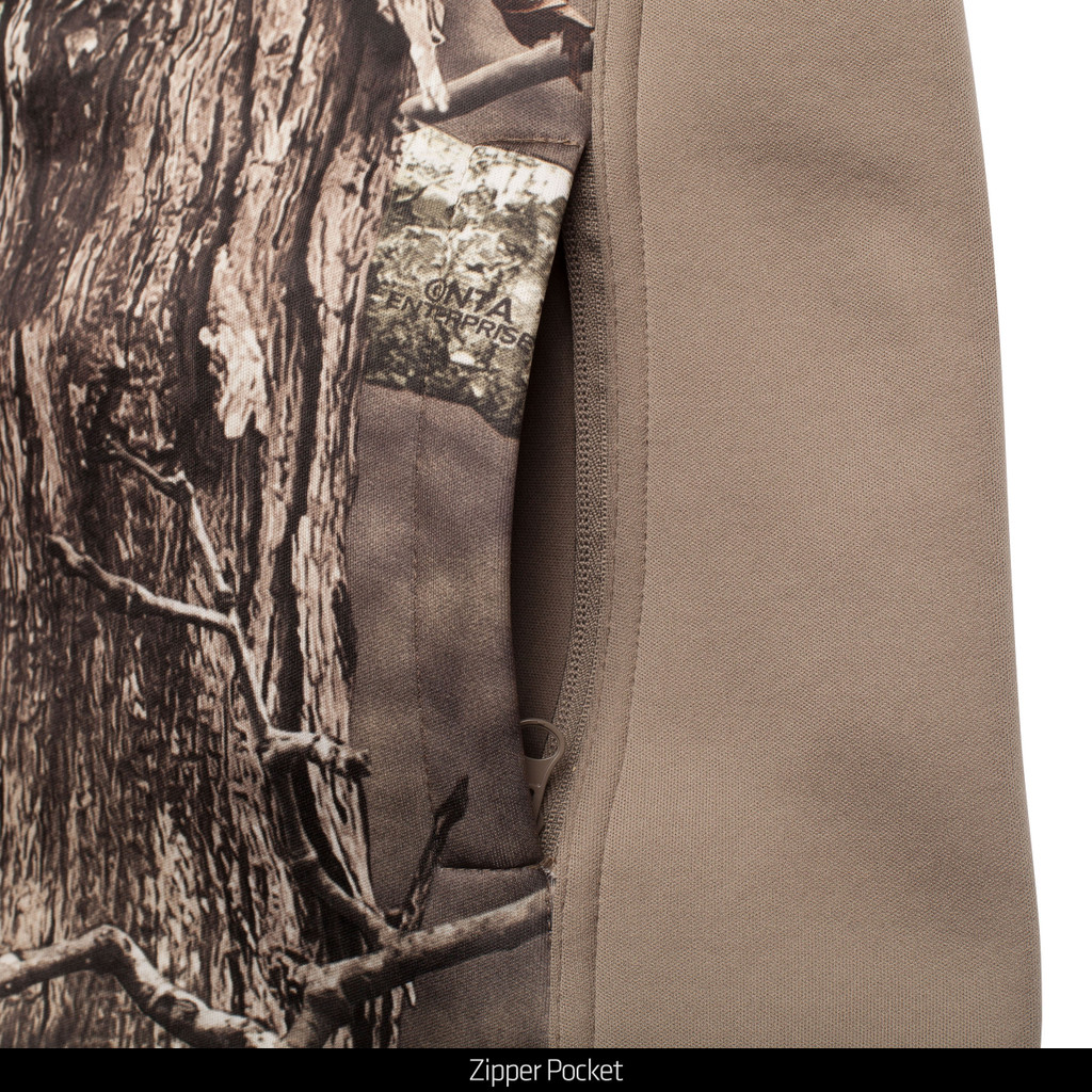 midweight Fleece Bonded Camo Hunting Jacket - Zipper pocket.