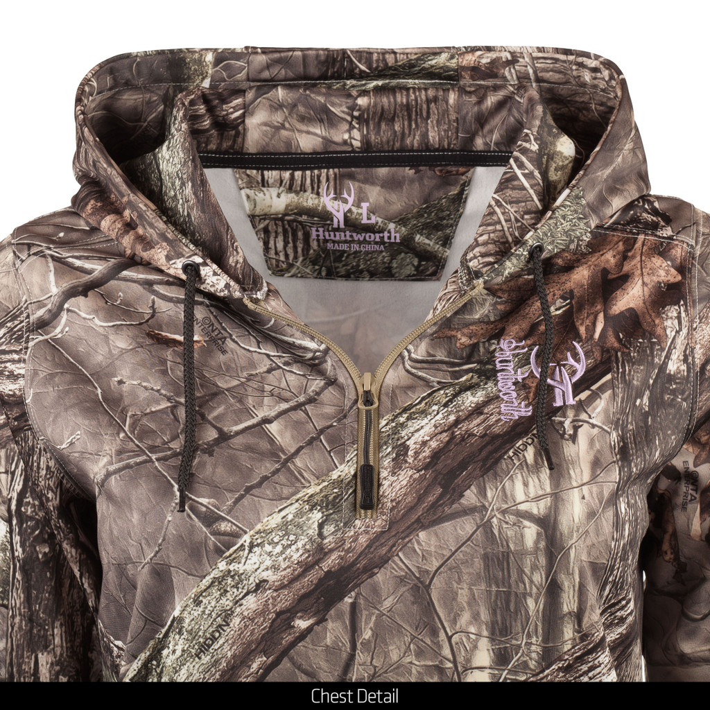 midweight Camo Hunting Hoodie - Chest details.