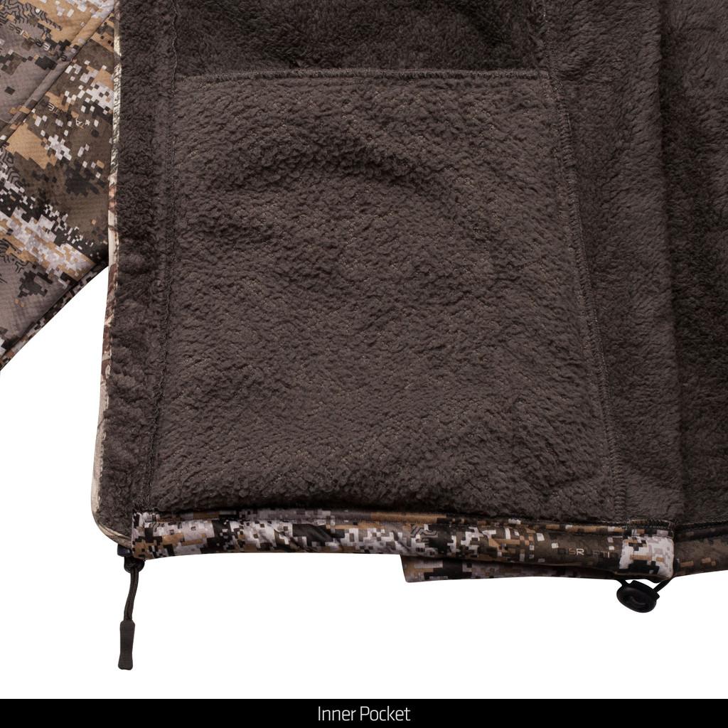 Disruption® camo pattern heavyweight hunting jacket - fleece lining and inner pocket.