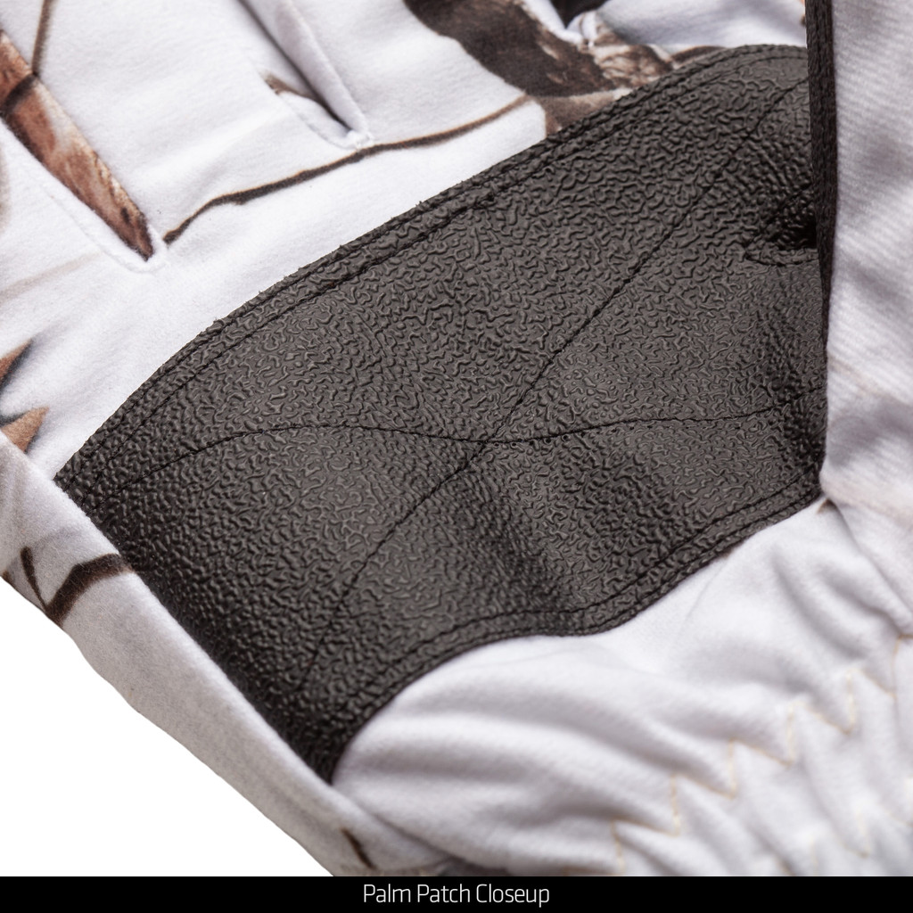 Snow Camo Gloves - Palm patch closeup.