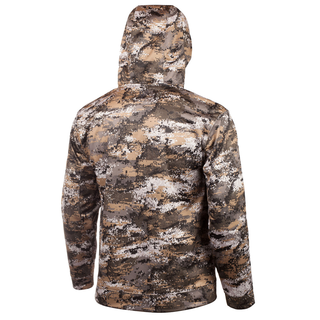 Rear view: midweight hunting Hoodie -  Hood lined with second layer of camo performance fleece.
