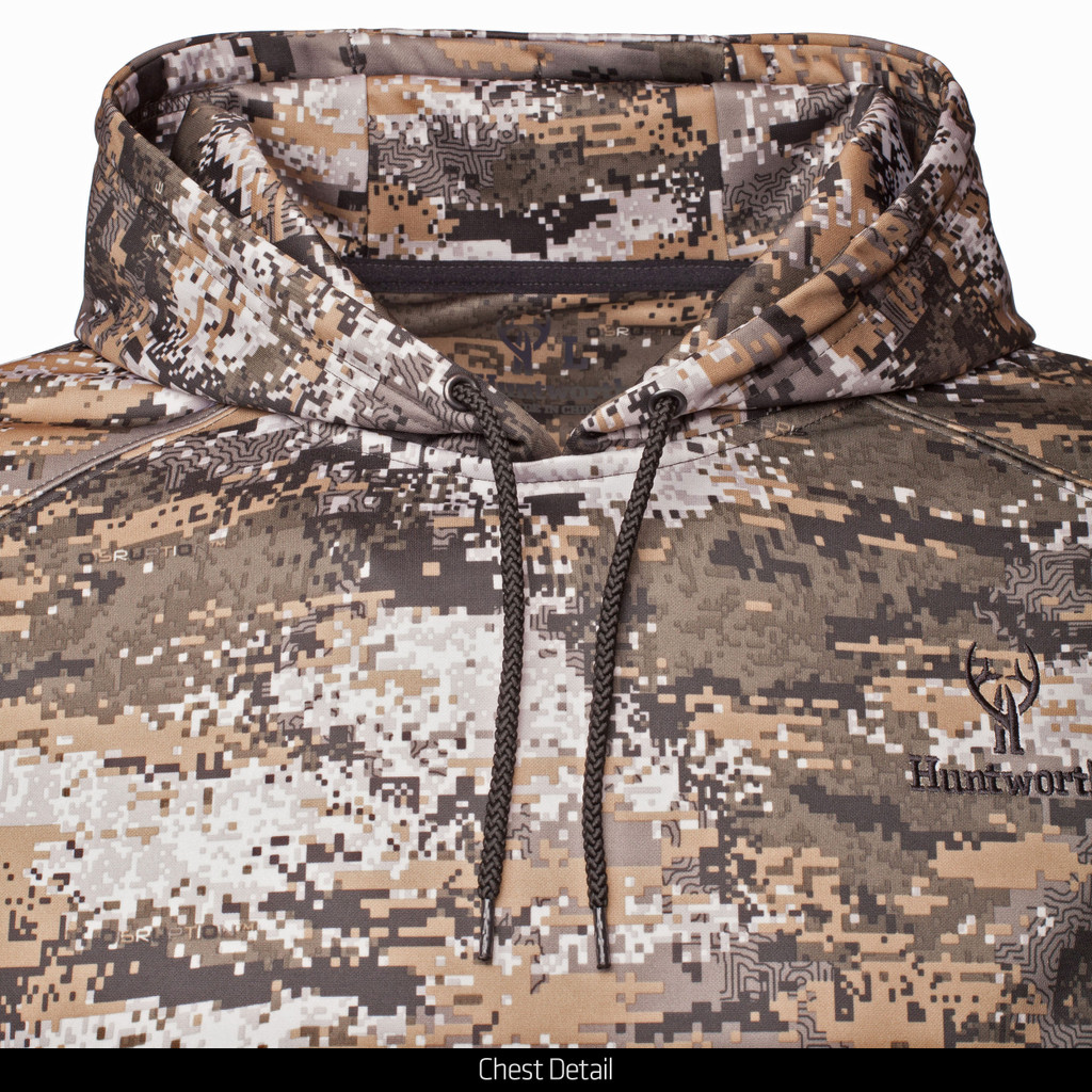 midweight camo hunting Hoodie - Secured draw cord in hood.