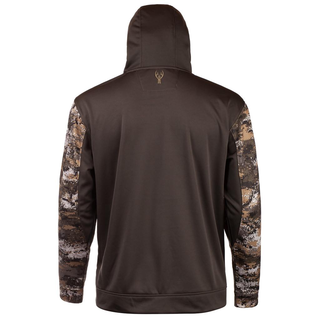 Men's Camo Hoodie - Small zip patch pocket on upper left sleeve.