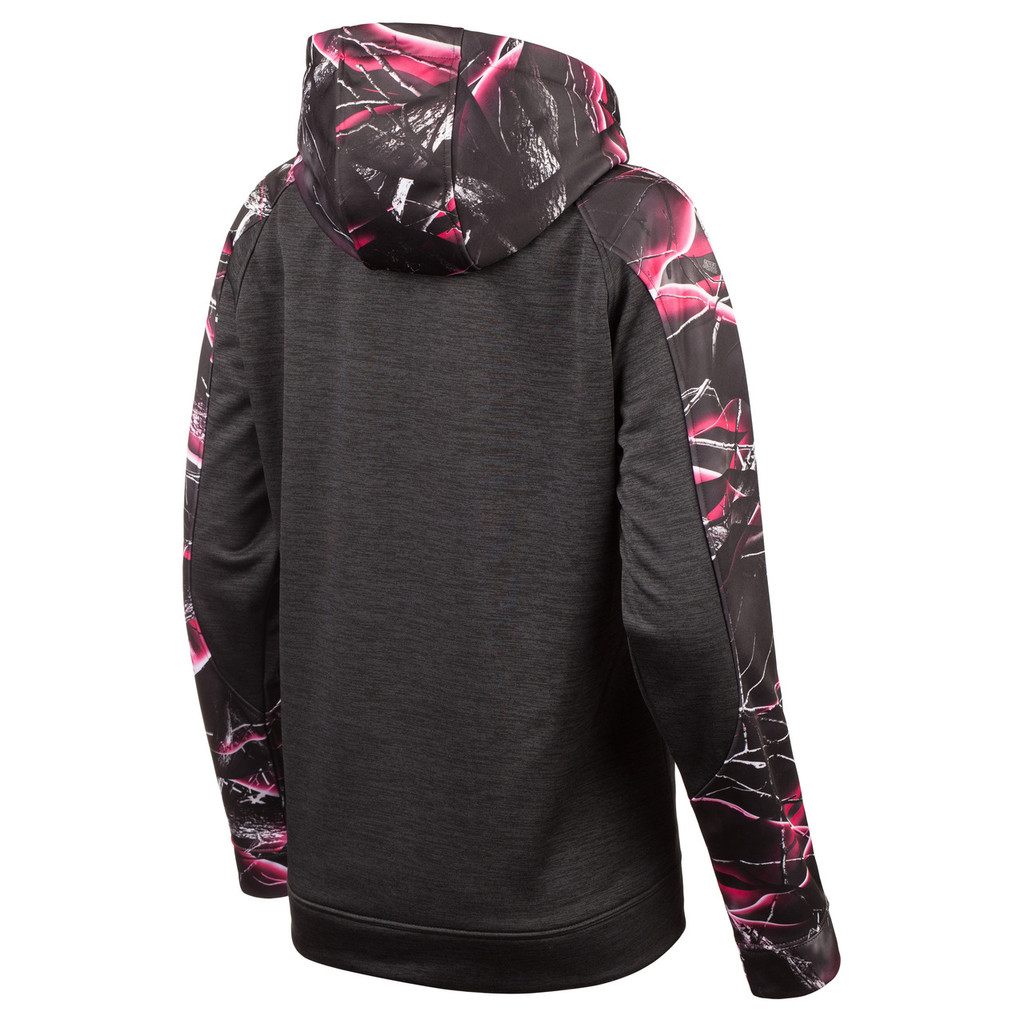 Ladies Heather Performance Fleece Hoodie (Heather Black and Moxie™ Camo)