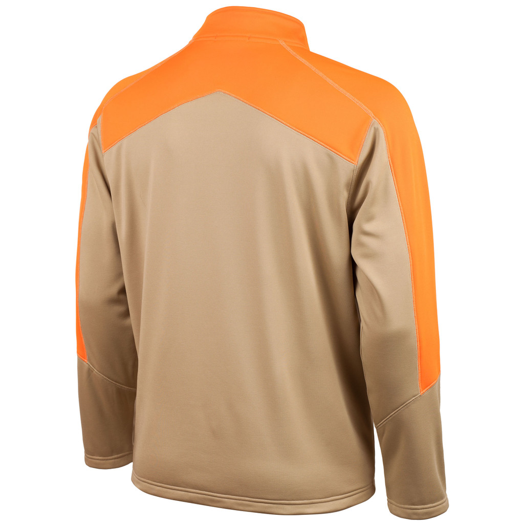 Rear view: Men's Half Zippered Pullover - High stand collar.