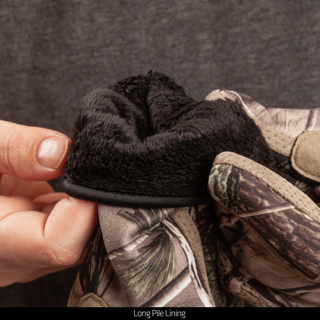 Water Resistant Hunting Gloves - Long pile lining.