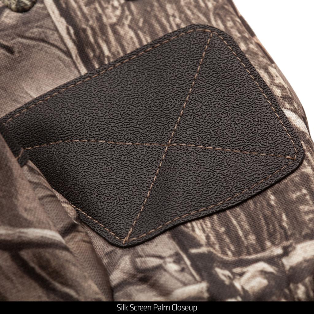 Hidd'n® Gloves - Silk screen palm close up.