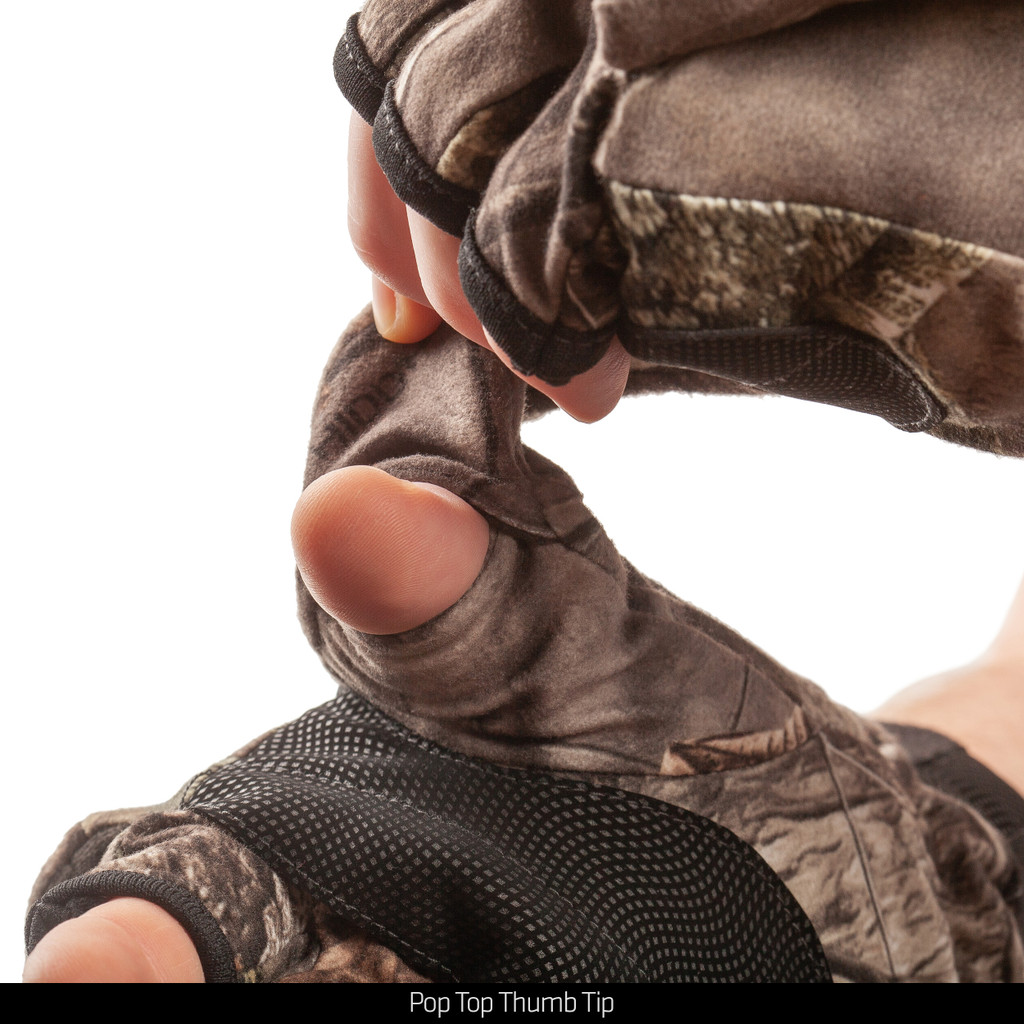 Hidd'n® pattern hunting gloves - Pop top thumb tip.