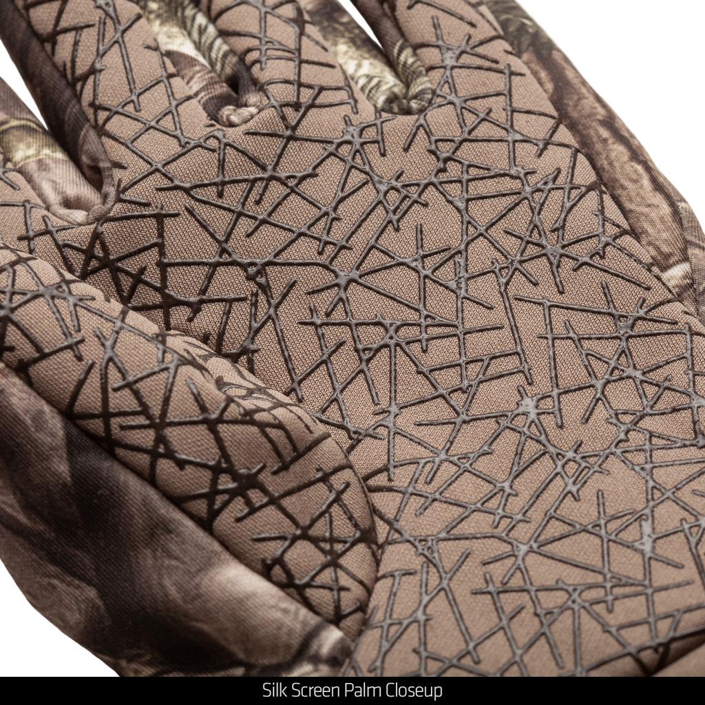 Hidd'n ® Gloves - Silk screen palm closeup.