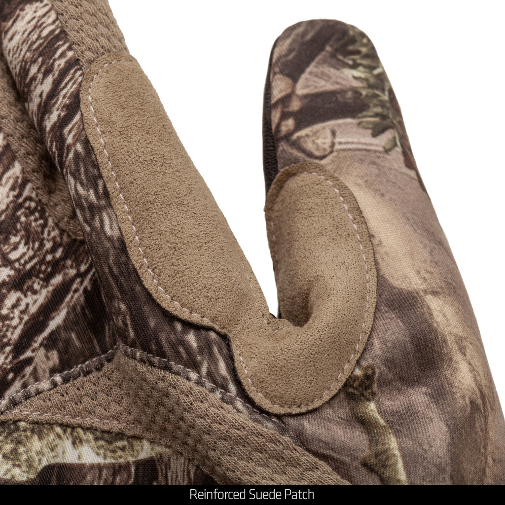 midweight Long Pile Fleece Lined Camo Hunting Gloves - Reinforced suede patch.