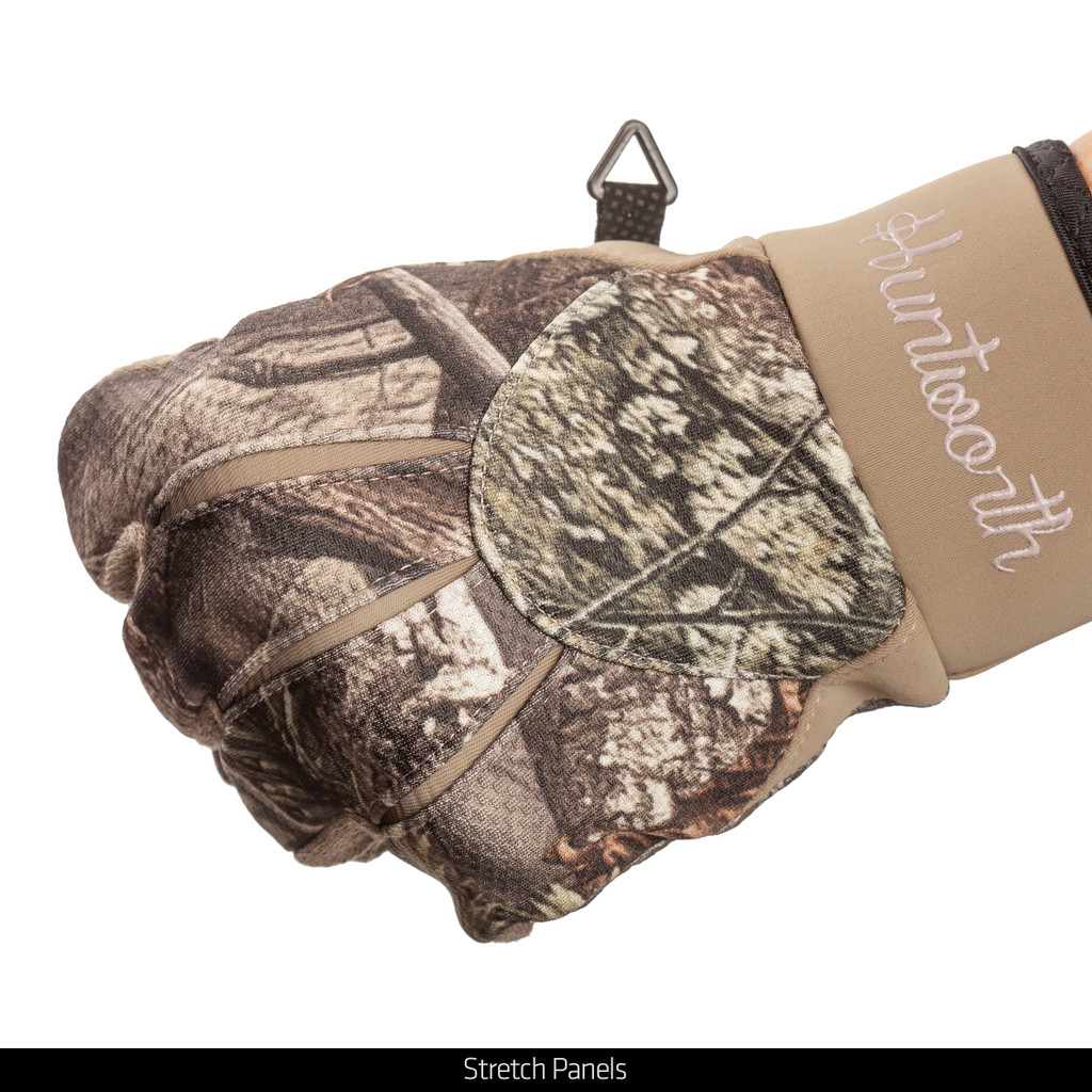 Windproof Soft Shell Camo Gloves - Stretch panels.