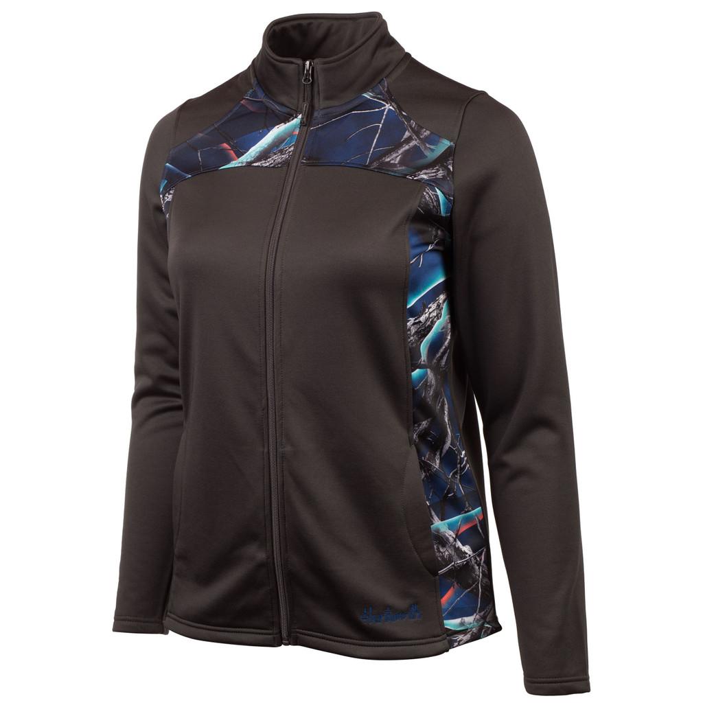 Women's Charcoal Gray and Nova color Performance Fleece Lifestyle Jacket.
