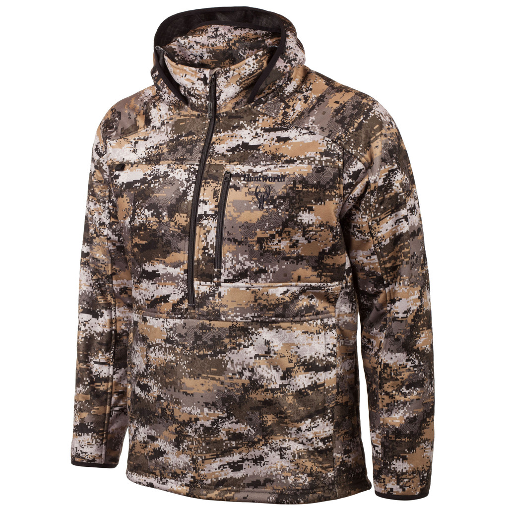 Men's Disruption® pattern Heavy Weight Windproof hunting ½ Zip Pullover.