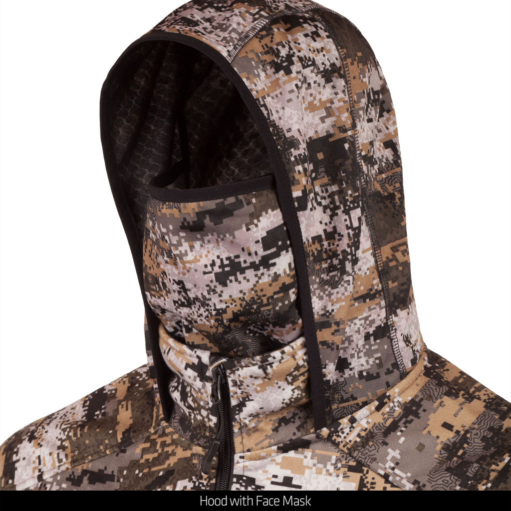 Disruption® camo Heavy Weight Jacket - Harness access hole at back.