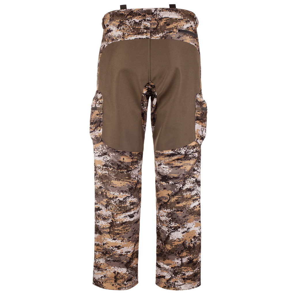 Rear view: midweight hunting Pants - Reinforced seat with abrasion resistant material.