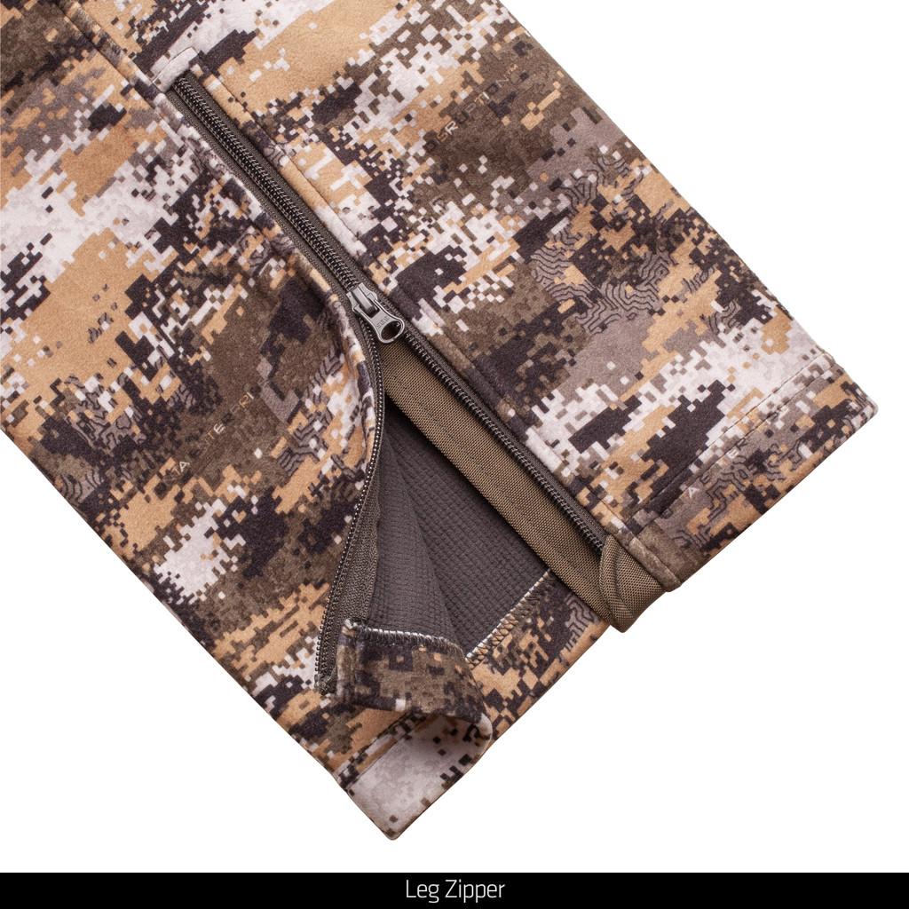 midweight Soft Shell hunting Pants - Leg Zipper.