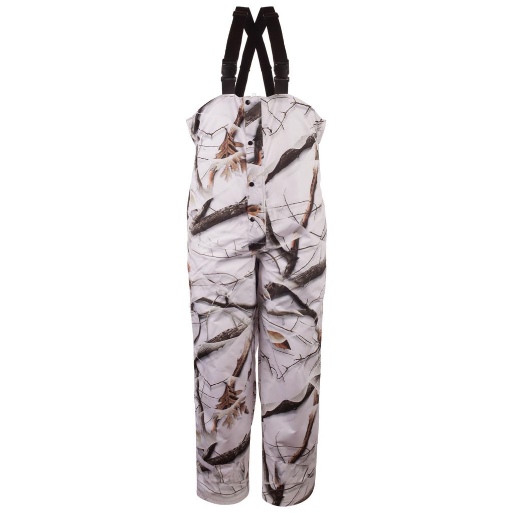 Men's Snow Camo pattern Waterproof Bib Overalls.