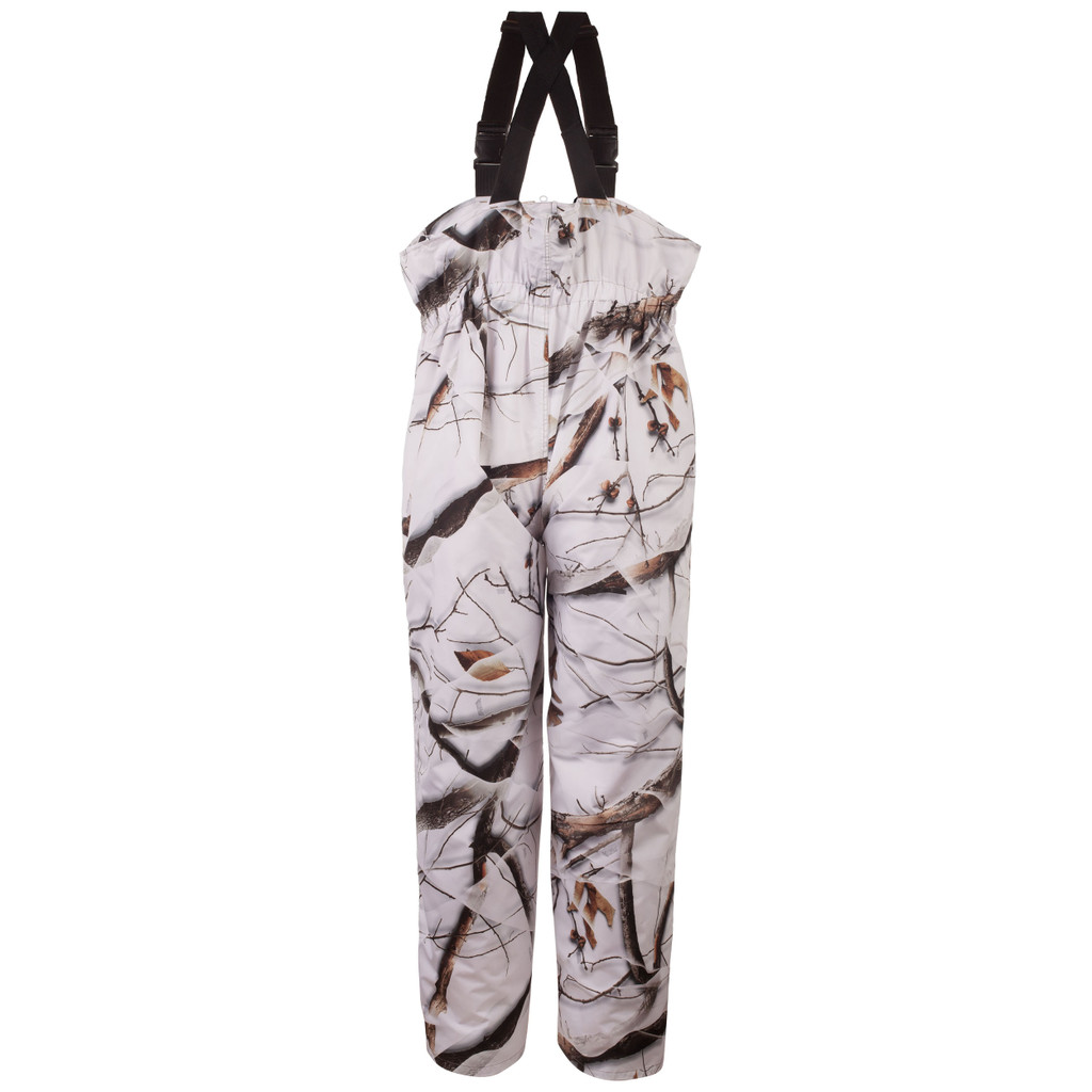 Rear view: Snow Camo Bib Overalls - Polyester lining.