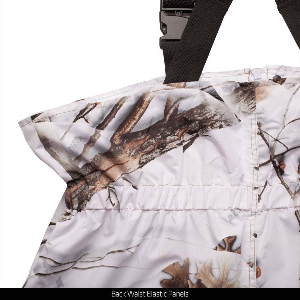 Light Weight Lined Microfiber Hunting Cover up Bib Overalls - Back waist elastic panels.