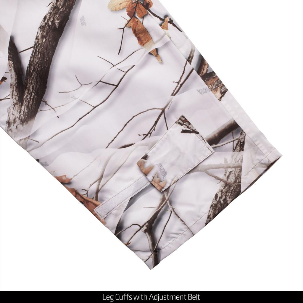 Snow Camo pattern Bib Overalls - Leg cuffs with adjustment belt.