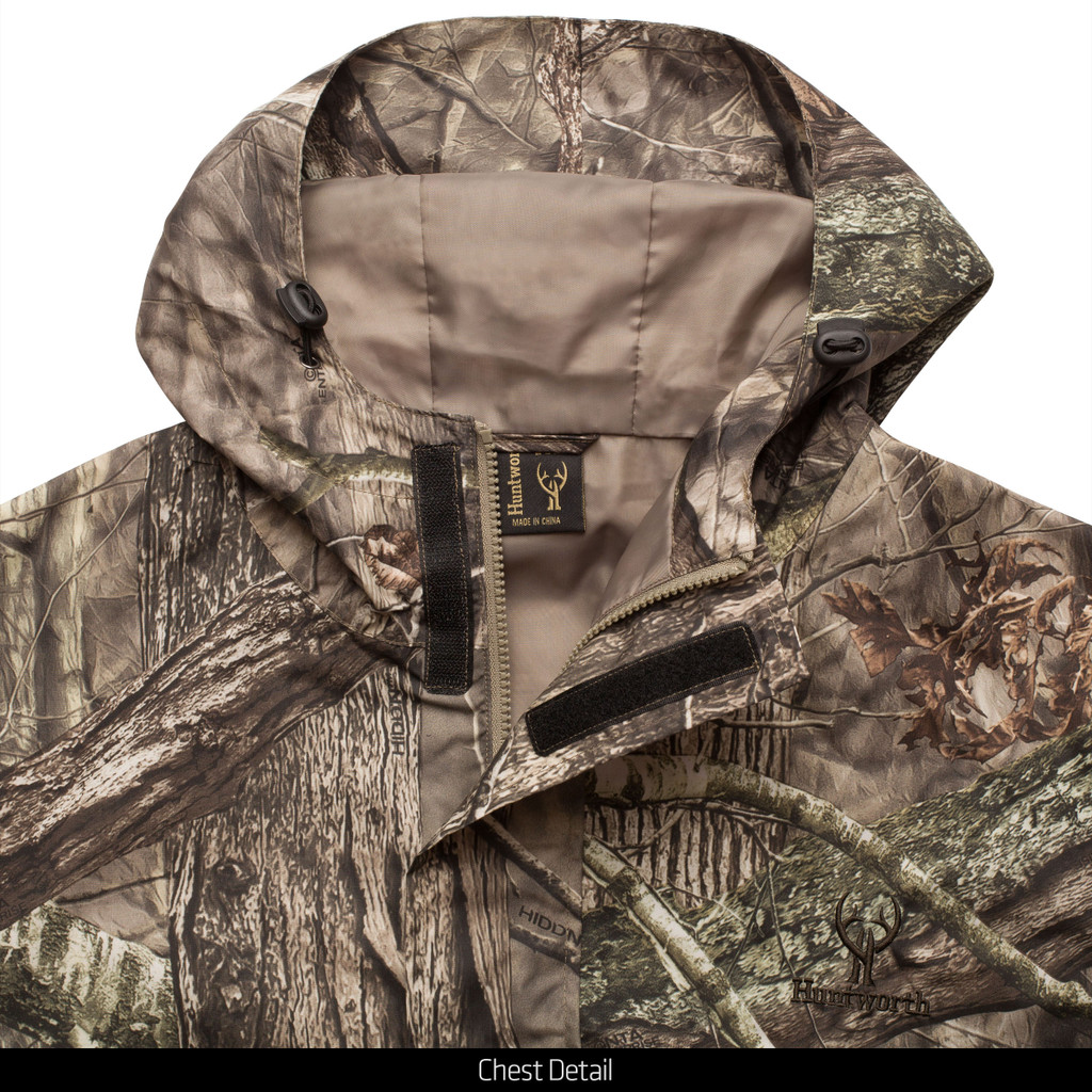 Light Weight Microfiber Polyester Lined Hunting Rain Jacket - Chest detail.