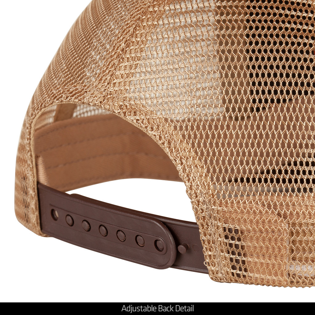 Brown Cotton Hunting Snapback - Adjustable plastic snap closure.
