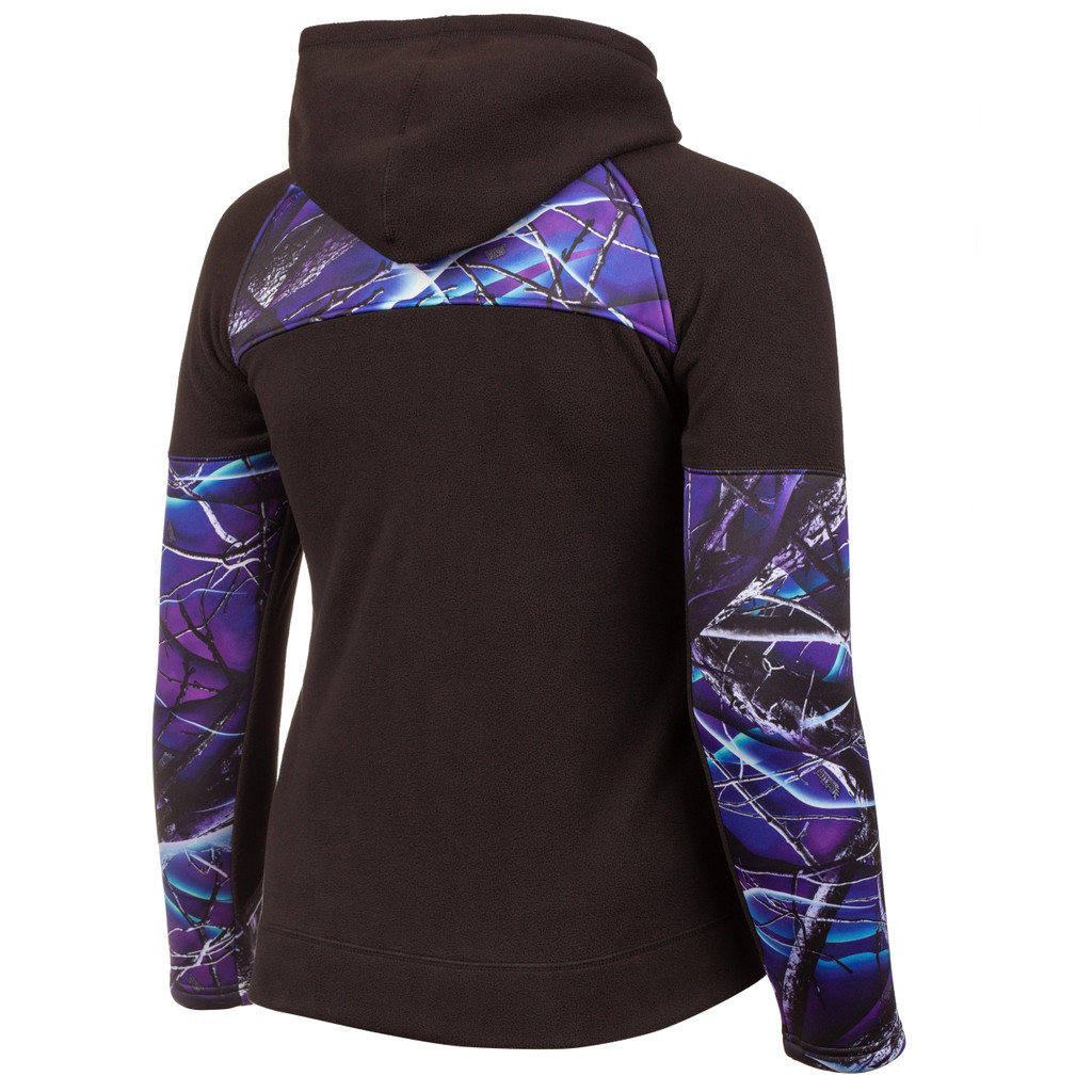 Huntworth Ladies Anti-Pill Fleece Hooded Jacket (Black / Ultraviolet™)