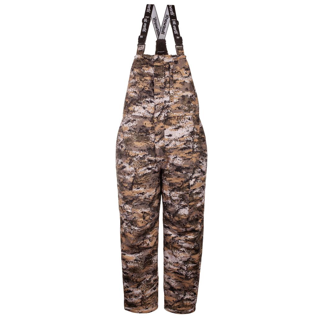 Men's Disruption® pattern heavy weight hunting bib overalls.