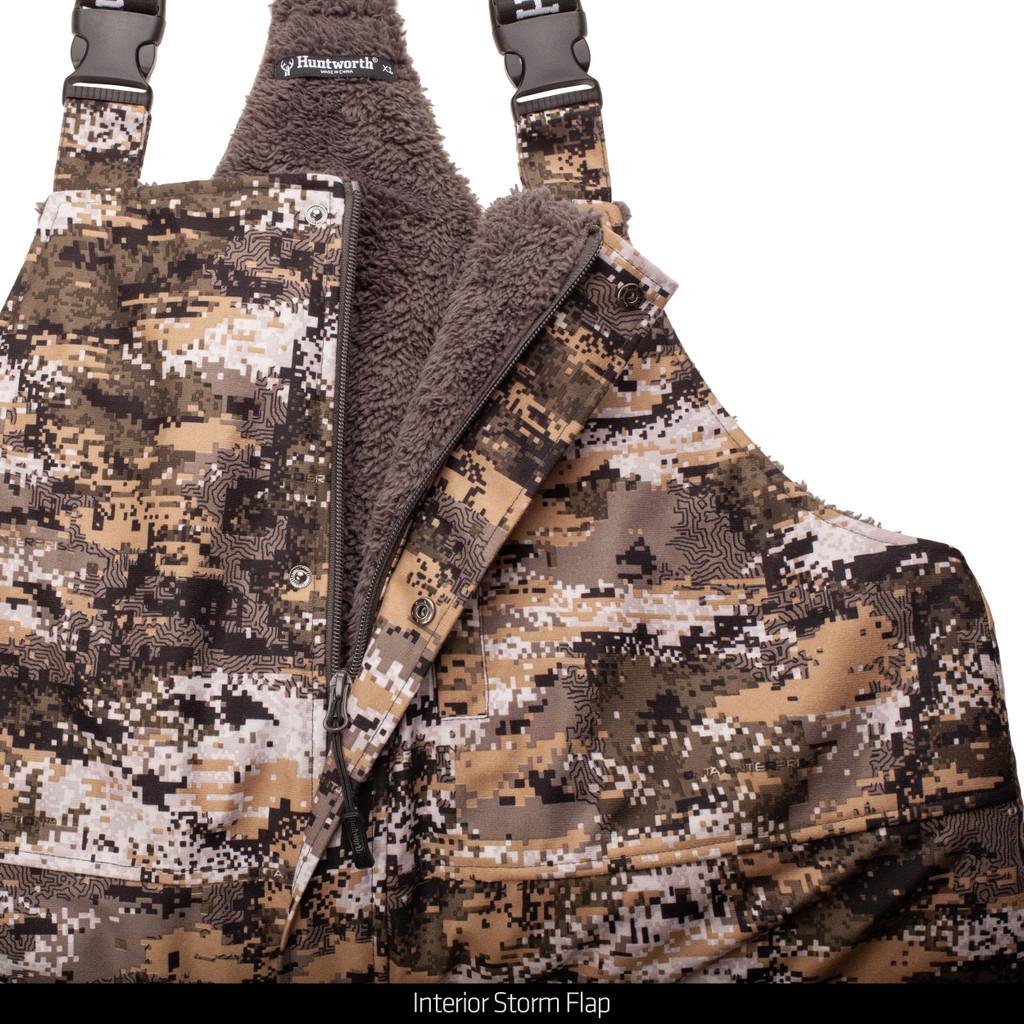 Hunting bib overalls - Interior storm flap.