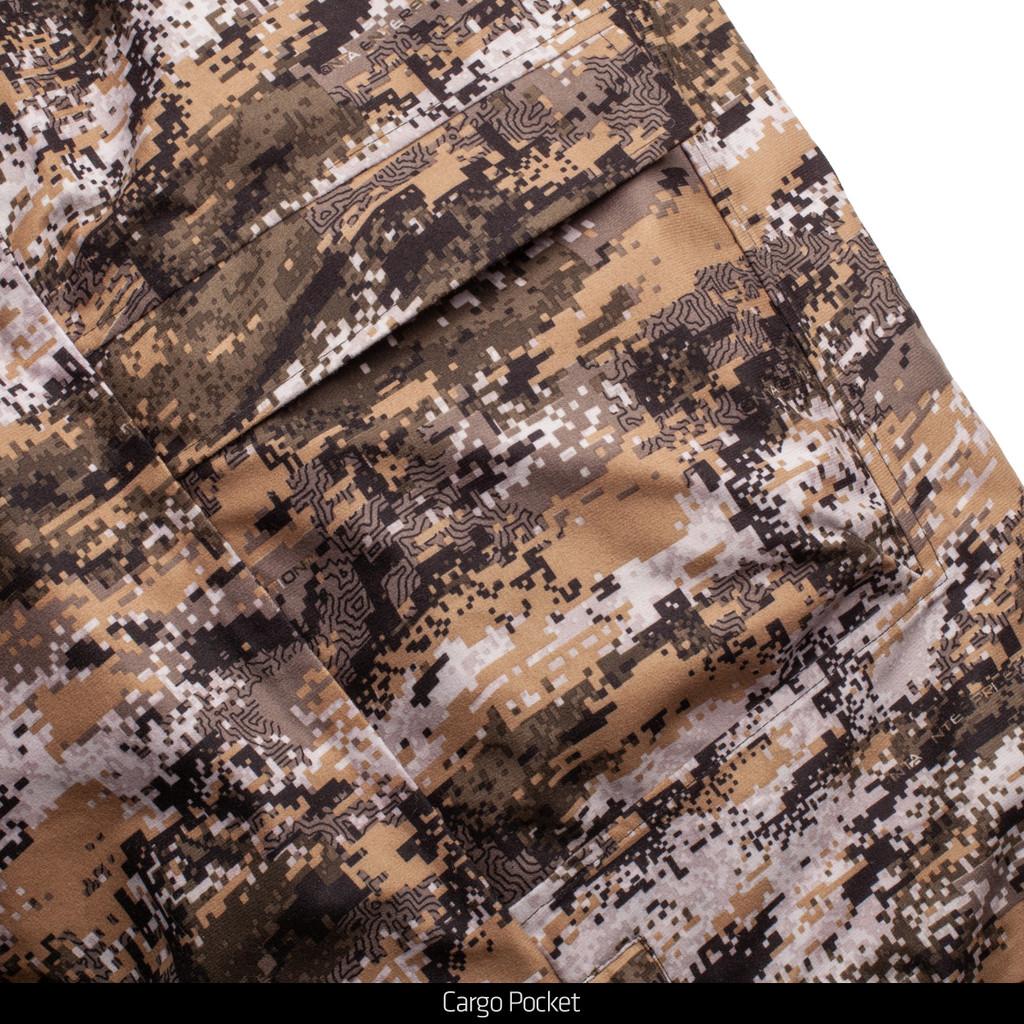Disruption® pattern heavy weight hunting bib overalls - zipper cargo pocket.