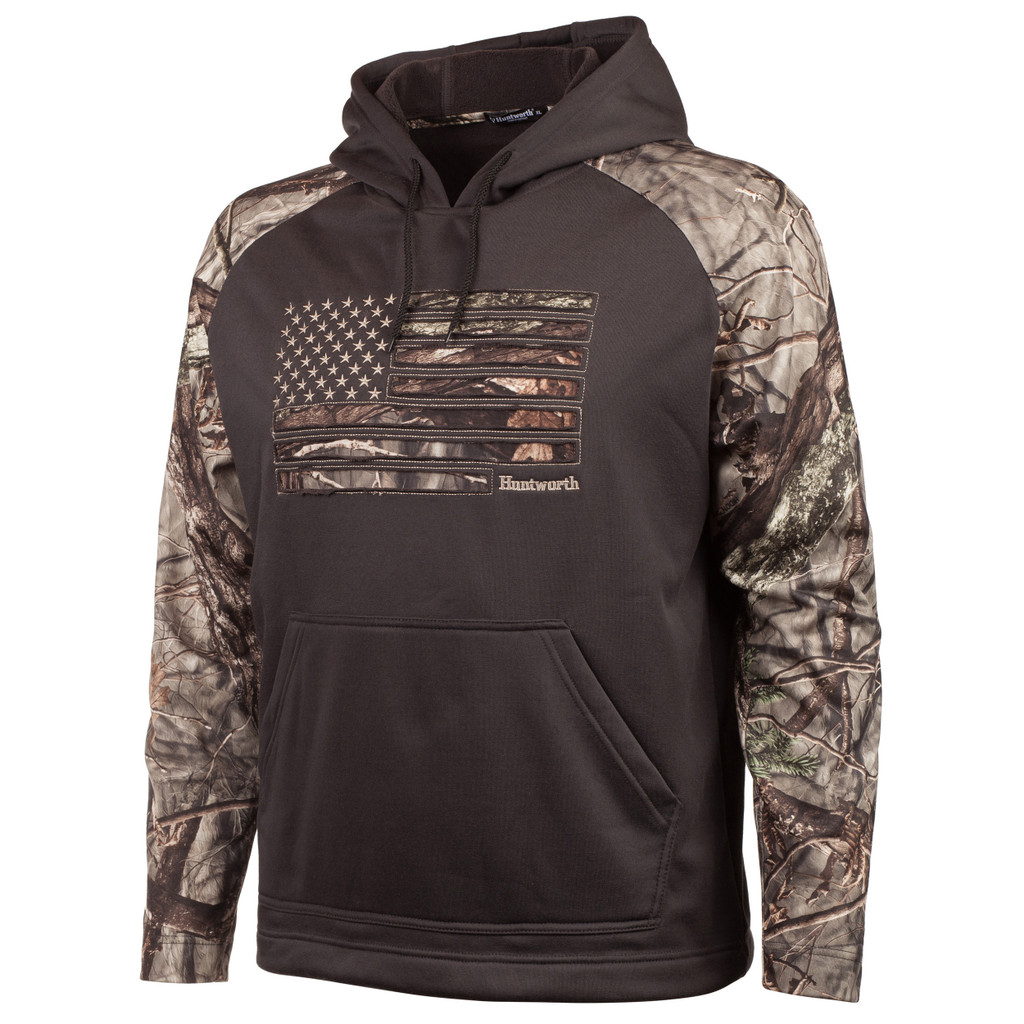 Men's Charocal Gray and Hidd'n Camo color Knit Jersey Hoodie.