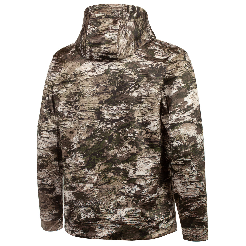 Rear view: midweight hunting Hoodie -  Fully lined hoodie.