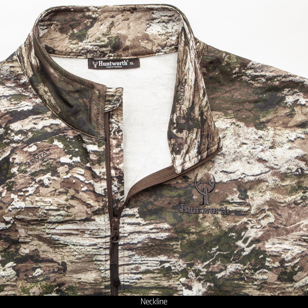 Midweight camo hunting 1/2 Zip Pullover - Chin guard.