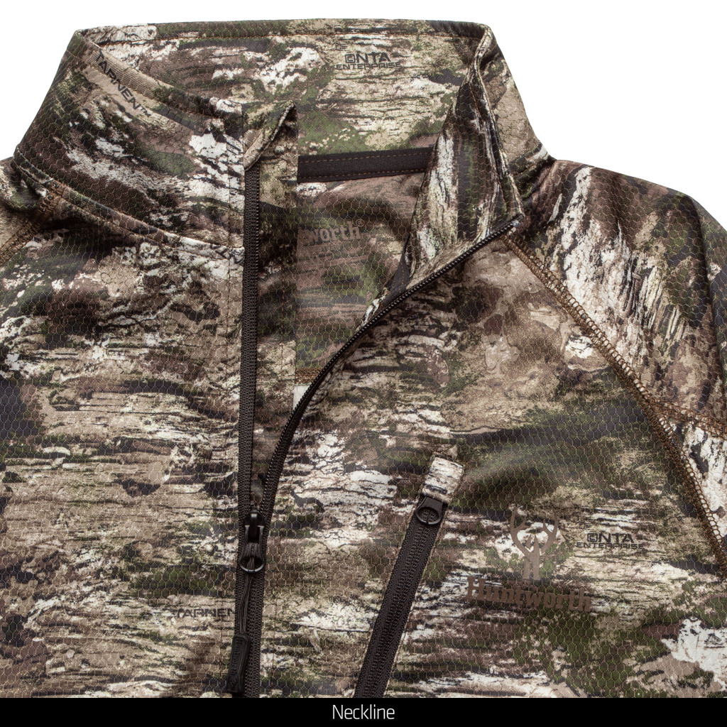 Light Weight camo hunting 1/2 Zip Pullover - Chin guard.